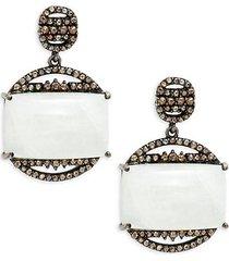 black rhodium-plated sterling silver, moonstone & diamond earrings