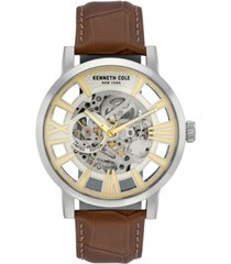 kenneth cole new york men's brown genuine leather strap watch, 46mm