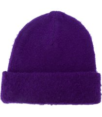 acne studios pilled knitted beanie - purple