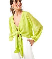 blusa nó frente top verde carambola