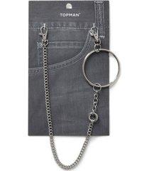 mens silver circle link wallet chain*
