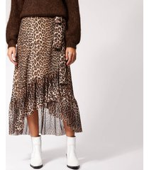 ganni women's tilden mesh maxi skirt - leopard - eu 40/uk 12 - multi