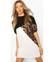 luipaardprint colour block t-shirtjurk, zwart