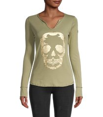 zadig & voltaire women's skull graphic cotton top - white - size s