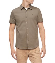 calvin klein olive liquid touch solid knit short sleeve shirt