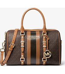 mk borsa a mano bedford travel media con righe e logo - marrone - michael kors