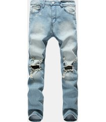 33da69dd7c8c vintage fashion light blue worn hole stampato stone washed denim ripped  jeans per uomo