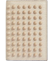 christian louboutin kios spikes calfskin leather card case - white