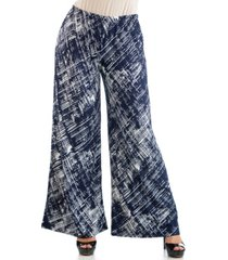 24seven comfort apparel women's plus size weave print palazzo pants