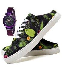 tênis mule sapatênis casual fashion com relógio luxury feminino dubuy 314el verde