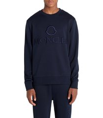men's moncler logo embroidered t-shirt, size medium - blue
