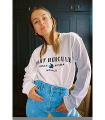 womens french riviera graphic sweatshirt - white