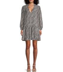 emma & michele women's leopard-print tiered dress - black cream combo - size l
