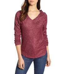 women's bobeau sweater hoodie, size x-large - burgundy