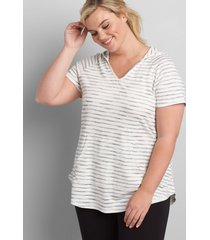 lane bryant women's livi striped hooded tunic 18/20 ivory