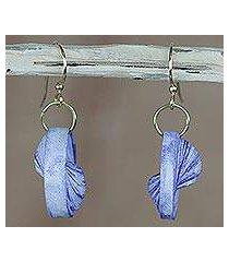 recycled paper dangle earrings, 'beach at dawn' (ghana)