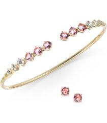 eliot danori cubic zirconia bangle bracelet & stud earrings set, created for macy's