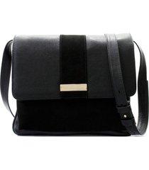 bolsa maria verônica tiracolo couro com nobuck preto