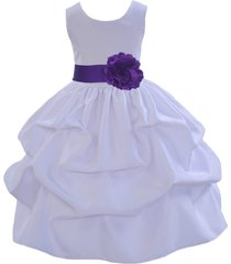 white flower girl dress pageant formal holiday new wedding bridesmaid party 208t