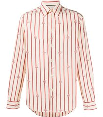 gucci double g vertical-stripe shirt - neutrals