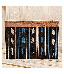 leather accented cotton clutch, 'aquatic reflections' (guatemala)