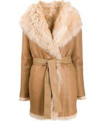 joseph belted shawl collar coat - brown