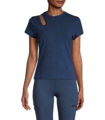 nine west women's cutout-shoulder t-shirt - insignia - size m