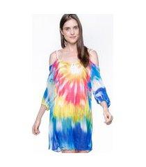 vestido 101 resort wear saída de praia crepe ciganinha tie dye colorido