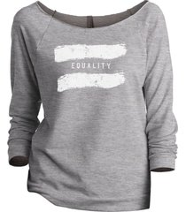 thread tank equality women's slouchy 3/4 sleeves raglan sweatshirt sport grey