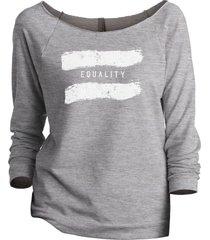 thread tank equality women's slouchy 3/4 sleeves raglan sweatshirt sport grey