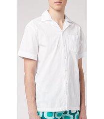 frescobol carioca men's seersucker camp collar shirt - white - m