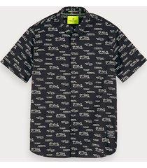 scotch & soda overhemd met korte mouwen en print | regular fit