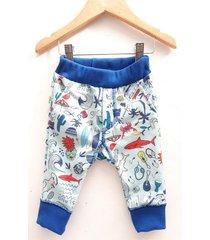 pantalón azul á croquer rustico