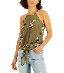 bar iii floral-print front-tie keyhole halter top, created for macy's