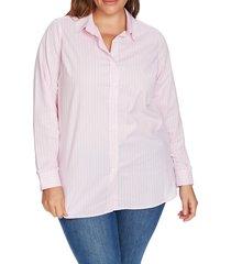 plus size women's court & rowe ruffle cuff stripe shirt