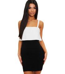 vestido racy modas curto tubinho com alcinha branco com preto