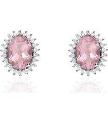 orecchini a lobo in oro bianco con topazio forma ovale rosa e contorno zirconi per donna