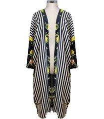 marcus adler striped floral kimono