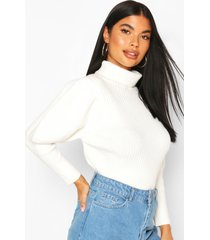 petite puff sleeve roll neck sweater, ivory