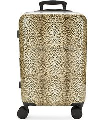 classic logo leaopard-print carry-on luggage