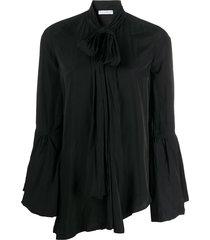 jw anderson tie-neck bell-sleeves blouse - black