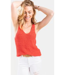 women's joey v-neck sweater tank top in coral by francesca's - size: l