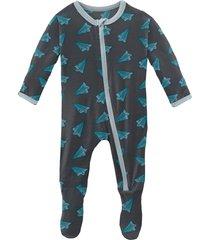 infant boy's kickee pants paper airplanes zip footie pajamas, size 18-24m - blue