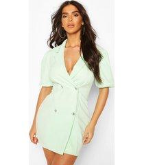 puff sleeve diamonte button blazer dress, mint