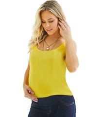 blusa megadose/ lui mammy moda gestante regata amarelo