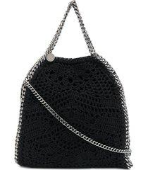 stella mccartney falabella crochet tote bag - black