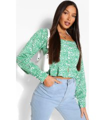 tall woven floral button front top, green