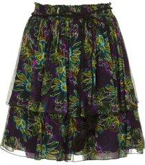 rok met bloemenprint maia  zwart