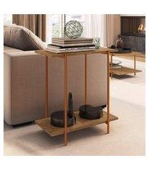 mesa lateral artesano tube 2 prateleiras vermont e cobre