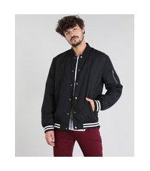 jaqueta masculina bomber com bolsos preta